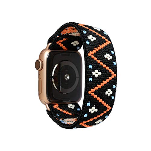 Tefeca Embroidery Polyline Pattern Elastic Compatible/Replacement Band for Apple Watch 38mm/40mm (Gold Adapters, XS fits Wrist Size : 5.5-6.0 inch)