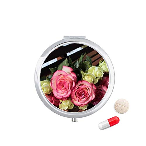 DIYthinker roze witte bloemen mooie bank Travel Pocket Pill Case Medicine Drug Opbergdoos Dispenser Spiegel Gift