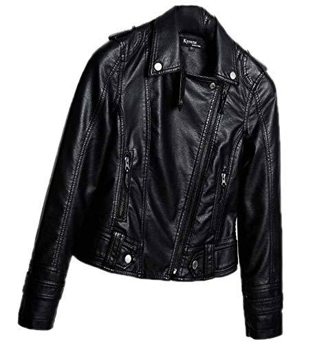 Hibasing Mini Chaqueta de Cuero Ajustada para Mujer Look Black Biker Coat