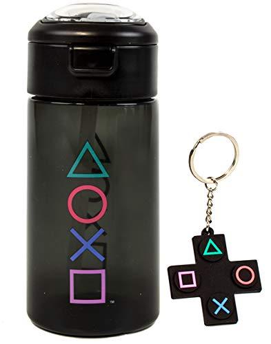 PlayStation Wasserflasche & Schlüsselanhänger Geschenk für Erwachsene & Kinder | Gaming Sport Drink 510 ml | Junge & Mädchen Gamer Geschenk | Schwarz Wasserdicht & Strohhalm Trinkbecher