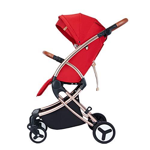LYzpf Leichter Baby Kinderwagen Komfortabel Stilvolle Babyartikel Kombikinderwagen Babyausstattung Buggy Faltbar Babyzubehör Babyprodukte Kompakt Zubehör für 0-36 Monate,red