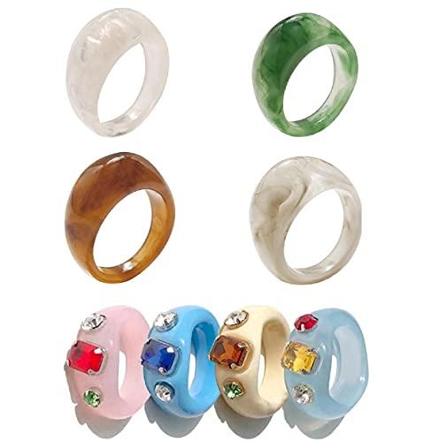 Set di anelli vintage in acrilico grosso, anello da dito colorato in resina, per ragazze e donne Anelli in plastica con pietre preziose alla moda (8 pezzi)