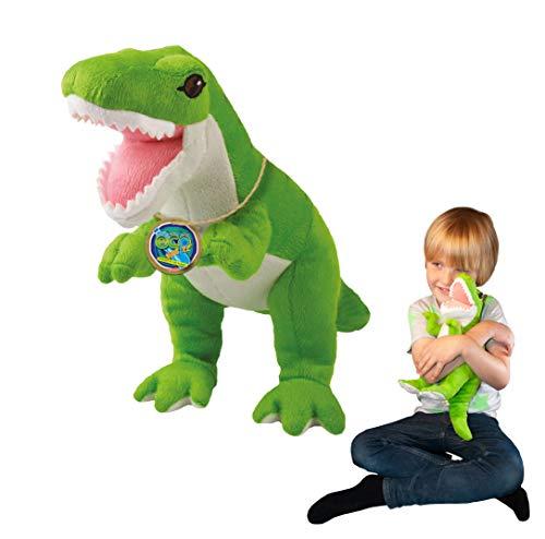 EcoBuddiez - Tiranosaurio Rex de Deluxebase. Peluche Grande de 35 cm elaborado con Botellas de plástico recicladas. Lindo Peluche ecológico con Forma de Dinosaurio para niños pequeños.