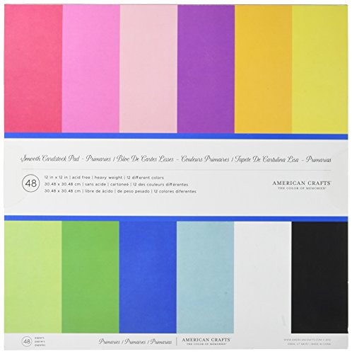 12 x 12-inch AC Cardstock Pad by American Crafts   Includes 48 sheets of heavy weight, smooth cardstock in various primary colors