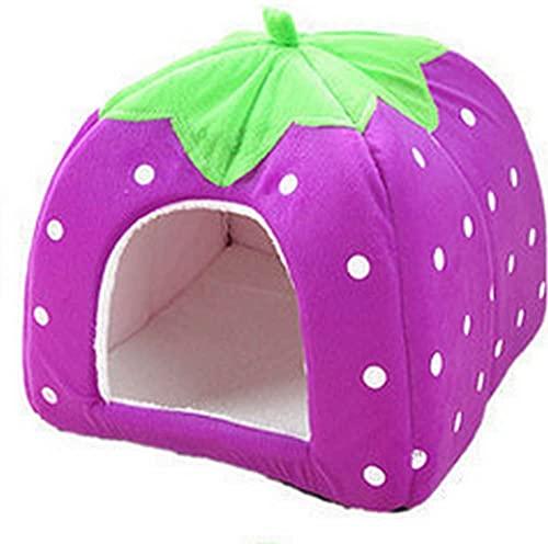 Rutschfestes Katzenhöhle, süßes Erdbeer-Katzenhaus weich faltbar Haustiernest mit waschbarem Kissen, weich und warm, Haustiernest für kleine Hunde, Kaninchen und Katzen, S, Violett