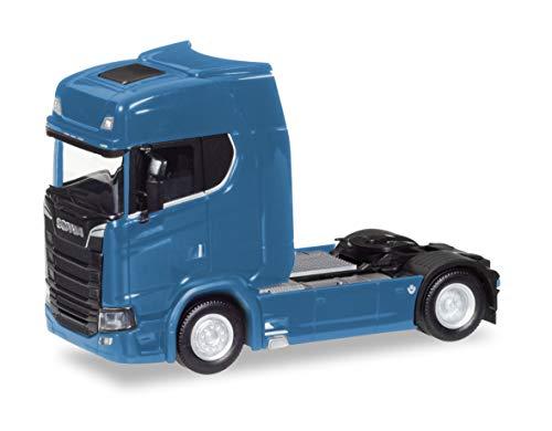 Herpa 307468-003 Scania CS V8 HD trekker, gentiaanblauw vrachtwagen om te knutselen en te verzamelen, rood, zwart