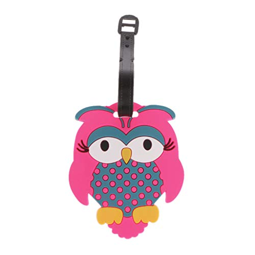 JERKKY Cartoon Owl Travel Luggage Tags Baggage Suitcase Bag Labels Name Address Holder Identifier Hot Pink