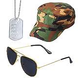 Beefunny Instant Army Kostüm Set - Camouflage HAT Erkennungsmarken Gold Aviators Herren Damen...