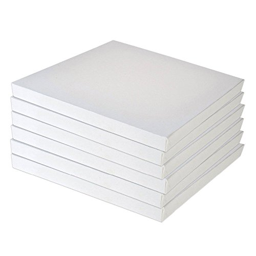"""Set of 4 Blank Stretched Canvas On Square 20cm X 20cm (8"""" X 8"""") Wooden Frames- Ideal for Painting & Decorating, Suitable for Both Oil and Acrylic Paints, Can Be Used by All Ages."""