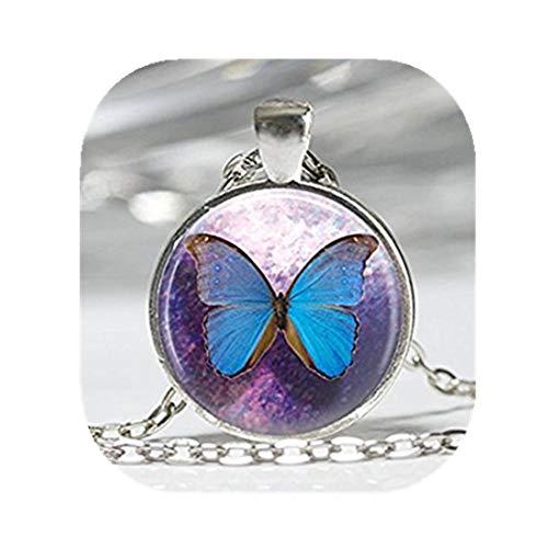 Azul collar de mariposa mariposas insectos. Entomología azul y morado arte colgante