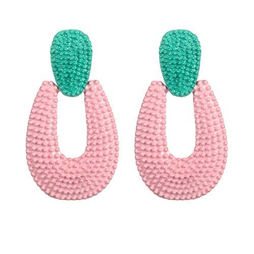 SONGAI Böhmische Retro- Plüsch-Kugel-Blumen-Troddel baumeln Bolzen-Ohrringe Partei-Frauen-Schmuck-Geschenk, Farbe Name: Rosa (Color : Pink)