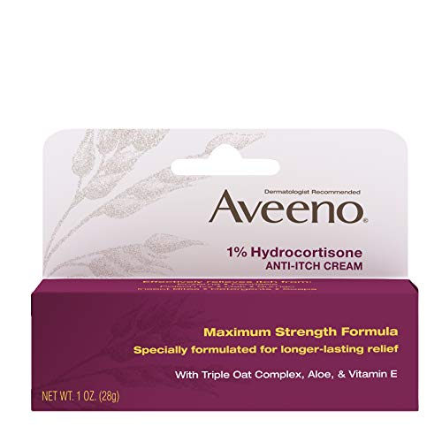 Aveeno Maximum Strength 1% Hydrocortisone Anti-Itch Cream with Pure Oat Essence, Triple Oat complex, Aloe & Vitamin E, For Itch, Rash & Redness Relief from Eczema, Psoriasis, Insect Bites & Poison Ivy, Oak & Sumac, 1 oz