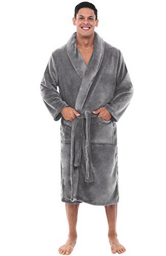 Alexander Del Rossa Men's Warm Fleece Robe, Plush Bathrobe, Small Medium Steel Grey (A0114STLMD)