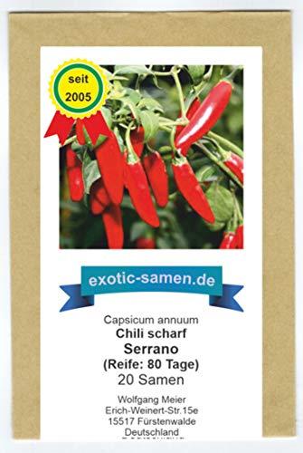 Serrano Chili - bekannte mexikanische Sorte für Salsas - scharf - 20 Samen