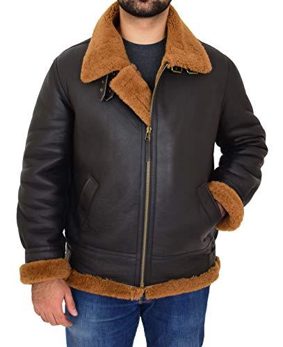 A1 Fashion Goods - Chaqueta de piel de oveja auténtica para hombre B3 Aviator Brown Ginger Shearling Falcon Marrón...