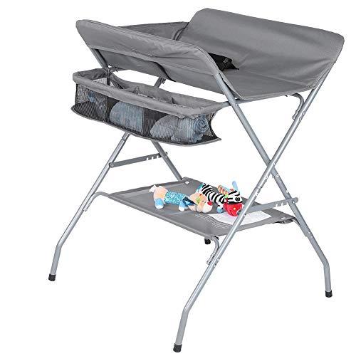 Cambiador plegable multifuncional, plegable para ahorrar espacio, de acero + tela Oxford de 15 kg, cambiador plegable y grande, multifuncional para bebé