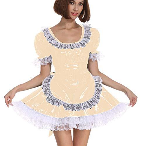 Cosplay Blanco Lace Distribuidor Cosplay Costume Dama Manga Corta Lolita Mini Vestido Precioso Vestido de Lujo de Cosplay con Delantal Traje mucama (Color : Apricot, Size : M)