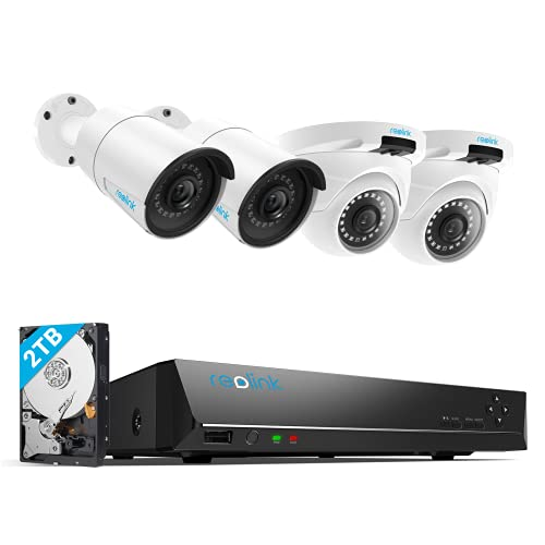 REOLINK 4MP 8CH PoE Security Camera System for Home and...