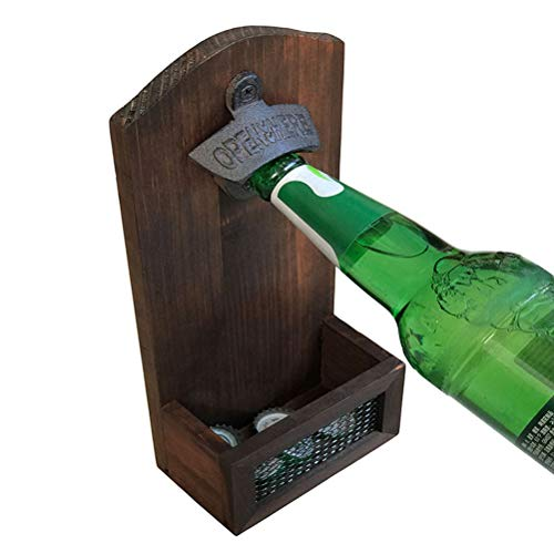 Retro Magneet Bottle Opener Wall Mounted Wijn Bier Opener Met Fles Cap Catcher Opener Tool Home Kitchen supplies