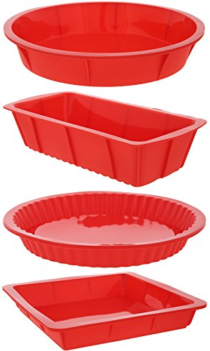 4 Piece Nonstick Silicone Bakeware Set Baking Molds with Round, Square and Rectangular Cake Mold Pan, Red