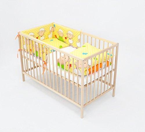 Velinda 6-tlg. Baby-Bettwäsche-Set Decke 150x120 Bettzeug Bettbezug für Babybett 140x70 (Muster: Schäfchen und Klee_Gelb)