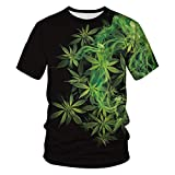 BKDTDYL Verde Weed Maglietta Pianta 3D Stampa Streetwear Hip Hop Raffreddare Manica Corta 1 XL