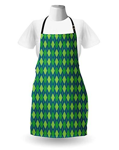 WELQUN Schürze Aprons Blaugrün-Schürze Grafik-Rautenmuster Altmodische Rautenformen Mit Gestrichelten Linien Küchenlätzchen Mit Verstellbarem Hals