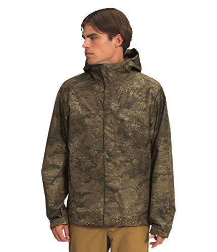 The North Face Men's Venture 2 Waterproof Hooded Rain Jacket, Military Olive Cloud Camo Wash Print, L