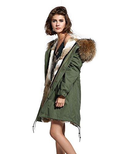 Lea Marie Parka XXL para mujer con cuello de 100% pelo auténtico, chaqueta de piel de conejo, color beige, nude, marrón, largo, forro de pelo de conejo, 6 variantes caqui L