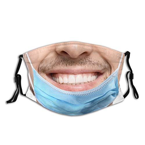 2 Fake Mouth Cover Funny Realistic Prank Face Mask Fashion Dustproof Scarf Reusable Adjustable Washable Bandana