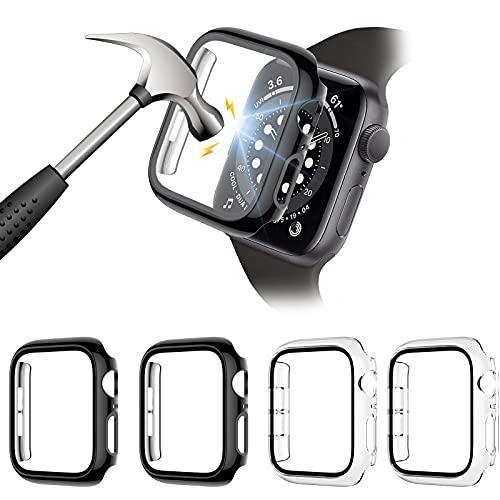 FITA [4 Piezas] Protector Funda Compatible con Apple Watch Series 6/5/4/SE 44MM Reloj,PC Case Protector De Pantalla Cristal Templado,Anti-Choque Caso para Compatible con iwatch 6/5/4/SE,44mm