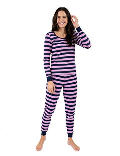 Leveret Womens Fitted Striped 2 Piece Pajama Set 100% Cotton (Large, Purple & Navy)
