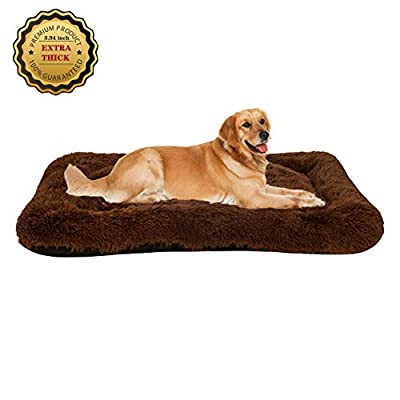 Poohom Soft Plush Dog Bed,Dog Crate Bed Pet Cushion Pet Pillow Bed Washable,Non-Slip Crate Dog Bed Crate Mat Pet Bed for Medium Large Dogs (X-Large, Brown)