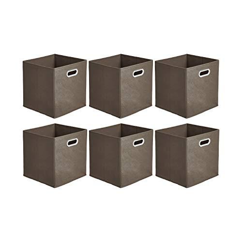 Amazon Basics - Cajas de almacenamiento de tela, con forma de cubo, plegables, con ojales metálicos, 6 unidades, gris topo