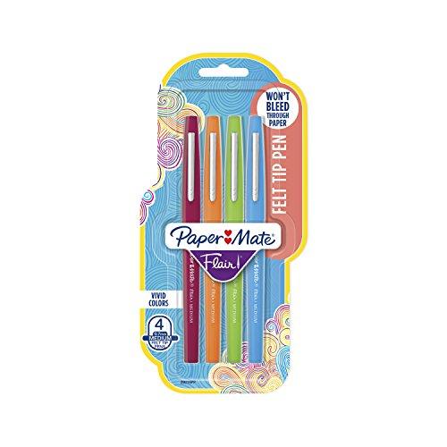 Paper Mate Flair Felt Tip Pens, Medium Point (0.7mm), Assorted Colors, 4 Count