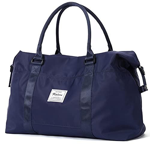 Travel Duffel Bag, Sports Tote Gym Bag, Shoulder Weekender Overnight Bag for Women,Navy Blue