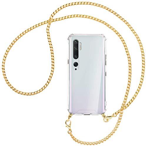 mtb more energy® Collar Smartphone para Xiaomi Mi Note 10, Note 10 Pro (6.47'') - Cadena de Metal (Oro) - Funda Protectora ponible - Carcasa Anti Shock