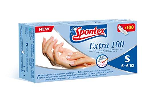 Spontex Extra 100 - Guantes finos de vinilo hipoalergénico, 100 unidades, talla S-6