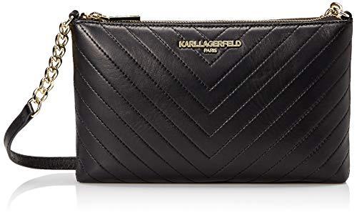 KARL LAGERFELD Paris Damen Charlotte Lamb Crossbody Umhängetasche, schwarz/Gold, Einheitsgröße