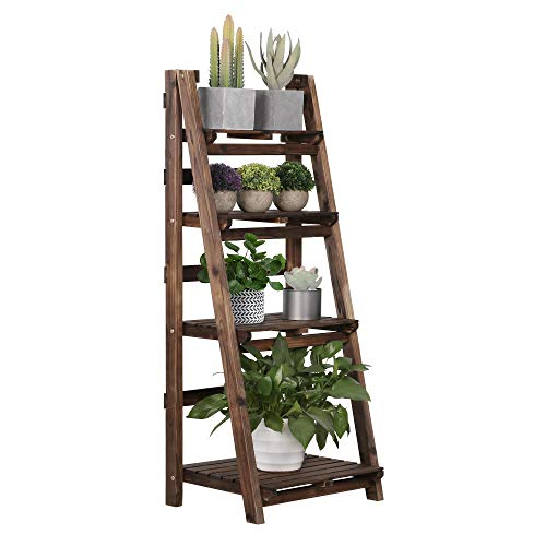Yaheetech 4-Tier Foldable Wooden Ladder Shelf Plant Flower Ladder Shelf Stand Rack Decorative Ladder Book Magazine Holder Storage