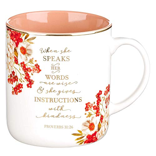 When She Speaks Proverbs 31 Woman Bible Verse Ceramic Coffee/Tea Mug | Pink/Red w/Gold Metallic Floral Christian Coffee Mug for Women, 14 oz