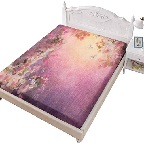 SoSung Twin Size Fitted Sheet 3D Printed with Art Chinese Majestic,Chinese Lake Landscape Before Majestic Foggy Mountains in Mist,Bed Cover with All-Round Elastic Deep Pocket for Comfort
