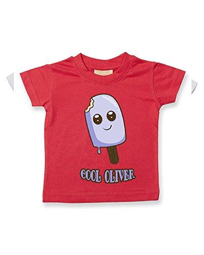 T-shirt pour bébé/enfant en coton doux avec nom personnalisable - Rouge - 2-3 ans
