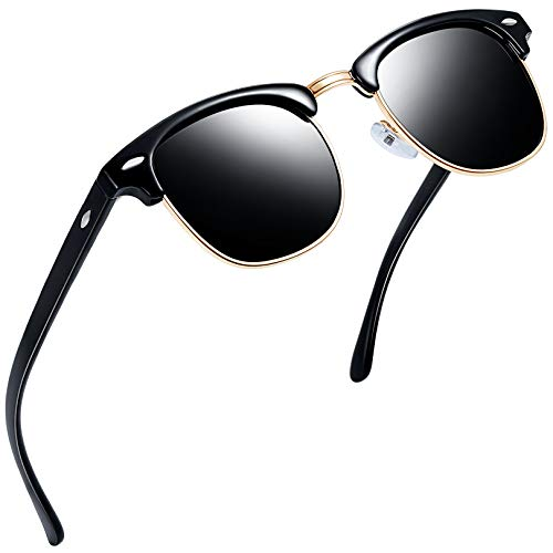 Joopin Gafas de Sol Hombre y Mujer Polarizadas Clásicas Medio Marco Retro Semi Rimless Gafas de Sol (Paquete simple negro)