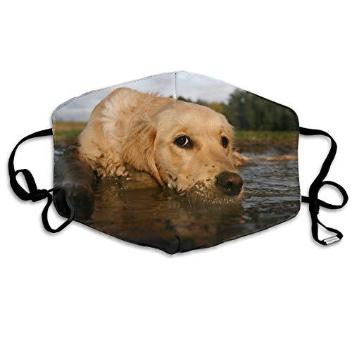 Mundmaske Hund liegt in der Pfütze 1Stk Unisex Baumwollmaske Anti-Staubschutz Earloop Radfahren Gesichtsmaske für Kinder Frauen und Männer