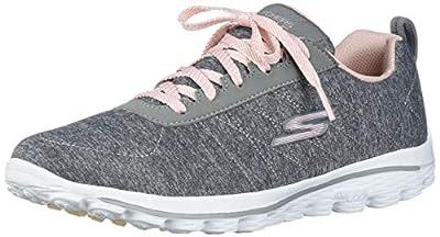 Skechers Women's Go Walk Sport Relaxed Fit Golf Shoe, Gray/Pink, 8.5 M US