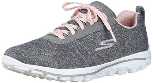 Skechers Women's Go Walk Sport Relaxed Fit Golf Shoe, Gray/Pink, 8 M US