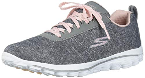 Skechers Women's Go Walk Sport Relaxed Fit Golf Shoe, Gray/Pink, 9.5 M US
