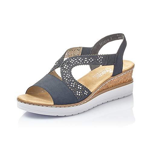 Rieker Mujer Sandalias de Vestir V3816, señora Sandalias de cuña,Zapatos del Verano,cómodo,tacón Alto,Pazifik,37 EU / 4 UK ⭐