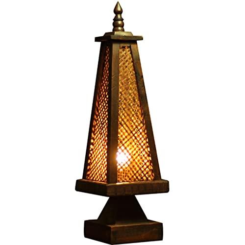 Lámpara de Mesa de Estilo asiático del sudeste con C.A. Power Plug Lightstand Decorativo Noche para la Oficina de la Sala de Estar de la habitación (Color : Brown)